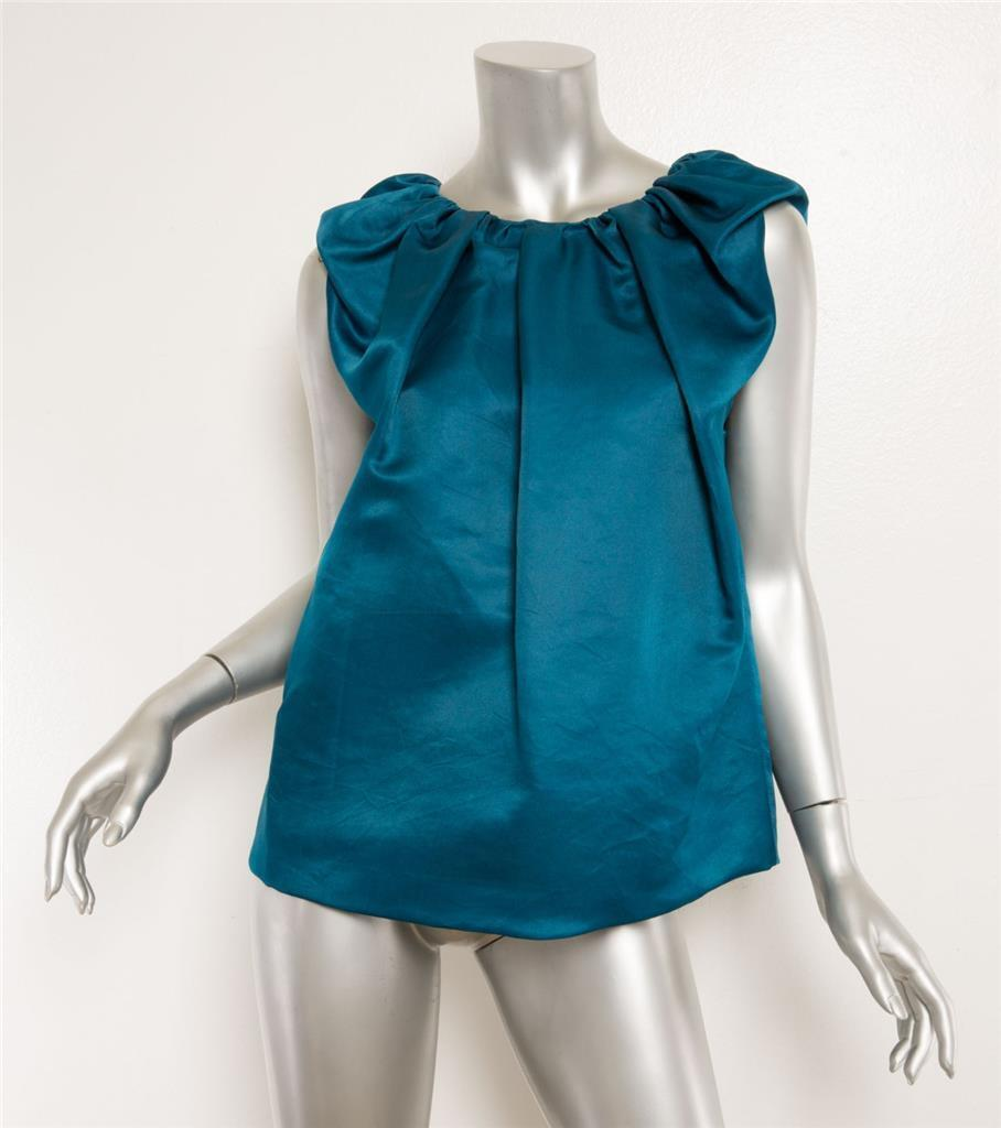 LANVIN Teal Blau Silk Pleated Ruched Crinkled Sleeveless Blouse Top 8-40 NEW
