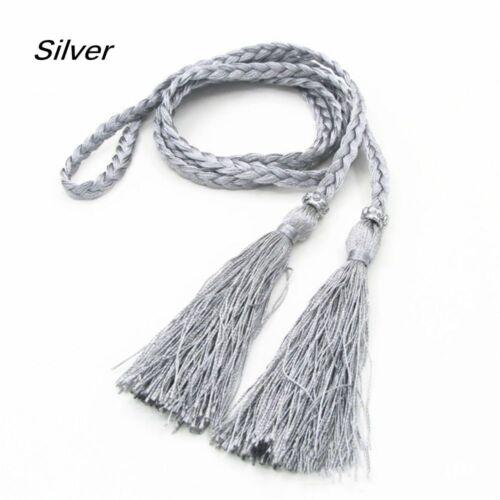 Women Ladies Belt Braided Woven Tassel Self-Tie Thin Chain Waist Bow Tie Rope