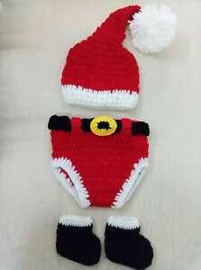 0b734cc977d52 Details about Christmas Outfits Baby Boy Newborn 0-6M Knit Crochet Costume  Photo Prop