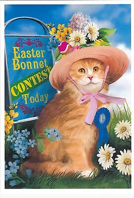 RARE TOM WOOD 2012 Cat in hat flowers #3 unposted modern postcard