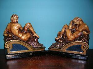 Michaelangelo 39 s night and day sculpture art bookends armor bronze orig labels ebay - Armor bronze bookends ...