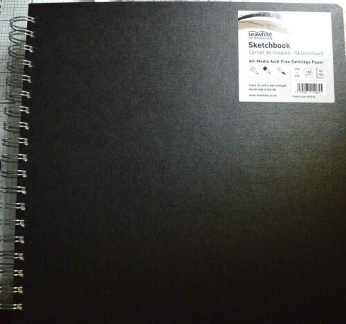 SEAWHITE Square Euro Sketchbook Black Poplin Cover 195mm SQ Wire Spine