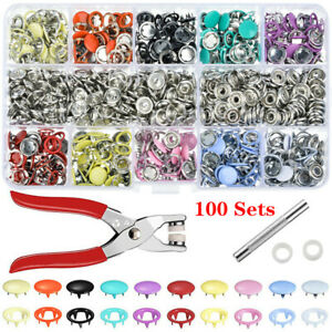 100-200Set-Metal-Sewing-Buttons-Hollow-Prong-Press-Stud-Snap-Fastener-Plier-Tool