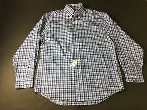 Jos-A-Bank-New-Mens-Blue-Plaid-Long-Sleeve-Button-Front-Shirt-Size-Medium