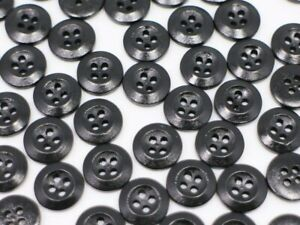 Small Black Two Holes Buttons Raised Edge Glossy Round Shaped Blouse 11mm 50pcs
