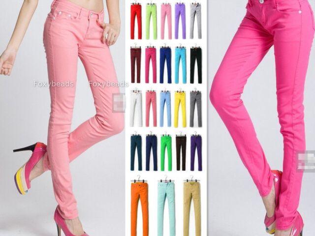 Pantalon Crayon Slim stretch Collant Couleur Bonbon Skinny Pants Jean Femme Mode