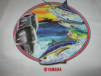 New Authentic Yamaha White Short Sleeve Tee Shirt with Offshore Fish and Boat