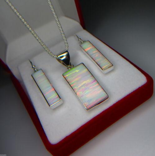 """Fire Opal Pendant /& Earring Set Australian Sunset 18/"""" Italian Chain 925 Silver"""