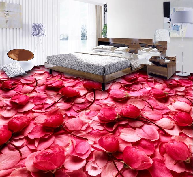 3D ROT Rose Petals 999 Floor WallPaper Murals Wall Print Decal AJ WALLPAPER US