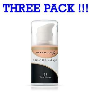 Three Pack Max Factor Colour Adapt Foundation 45 Warm Almond