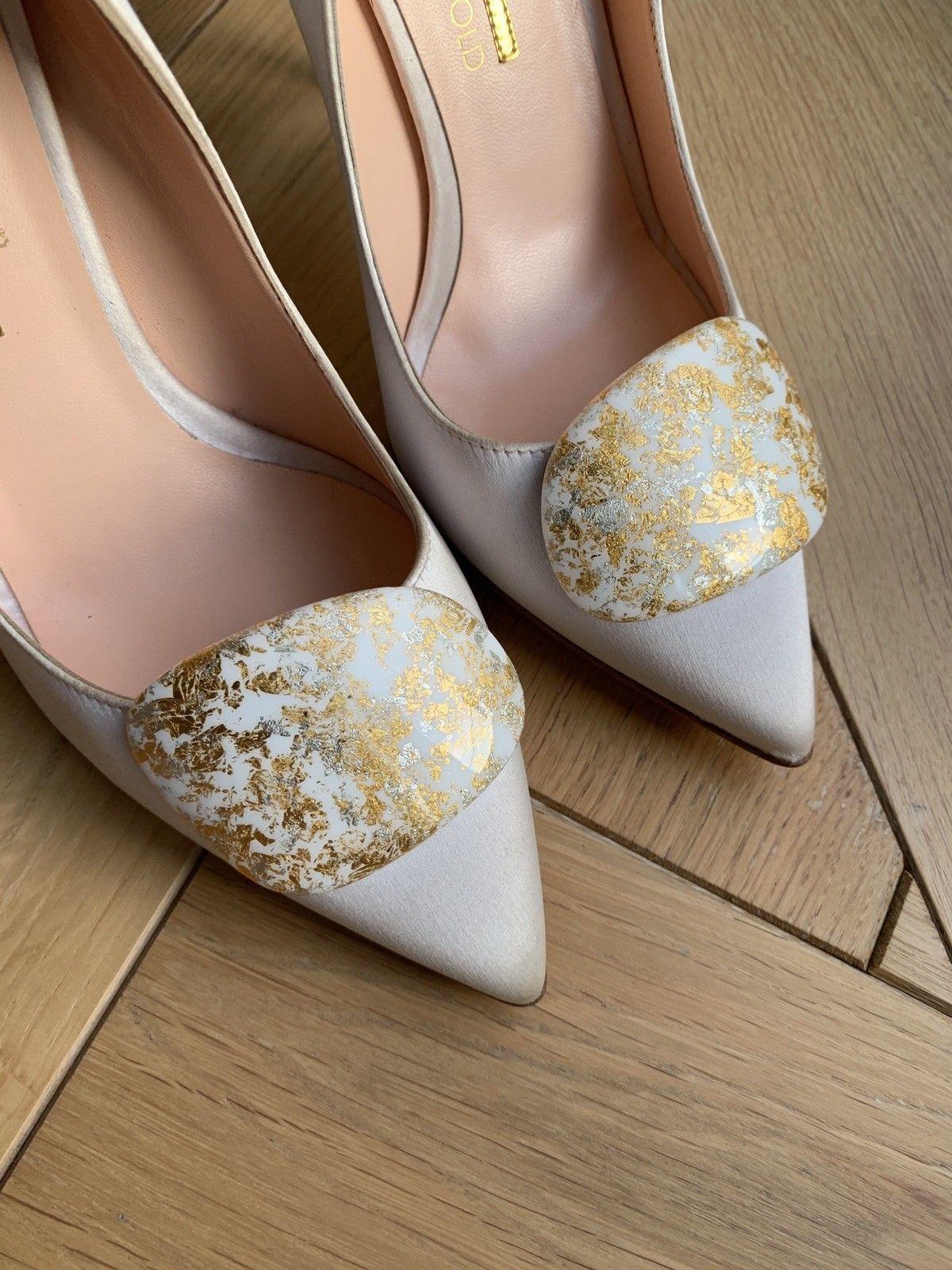Rupert Sanderson calice white satin gold Splatter Pebble EU37 wedding