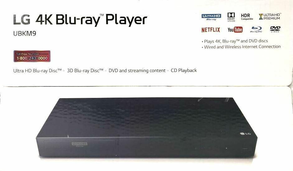 LG UBKM9 Streaming Ultra-HD Blu-Ray Player w/ Streaming Services Built-in WI-FI player services streaming ubkm9
