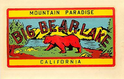 BIG BEAR LAKE ~CALIFORNIA~ Scarce and ORIGINAL Travel Decal / Label, c. 1955