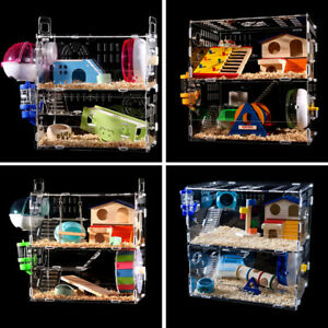 Hamster-Acrylic-Cage-Clear-1-3-Layer-Mice-Mouse-Gerbil-Castle-Rat-House-Toy-Bed