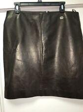 Gucci Dark Brown Lamb Leather Skirt Sz48 NWT $1595