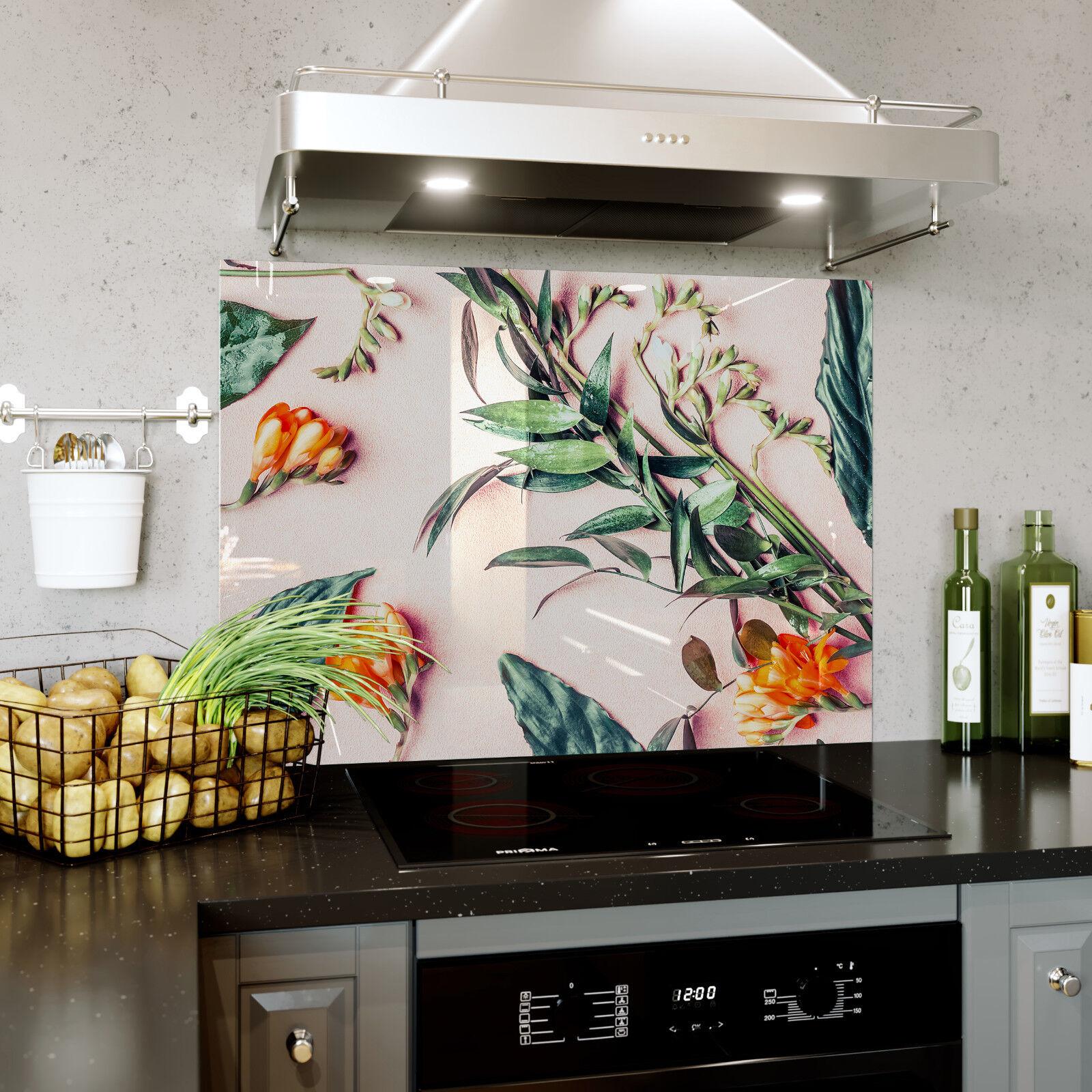 Cocina de vidrio vidrio de templado de ESG salpicaduras de pared trasera botánico Flor Prizma SB0355 1668f7