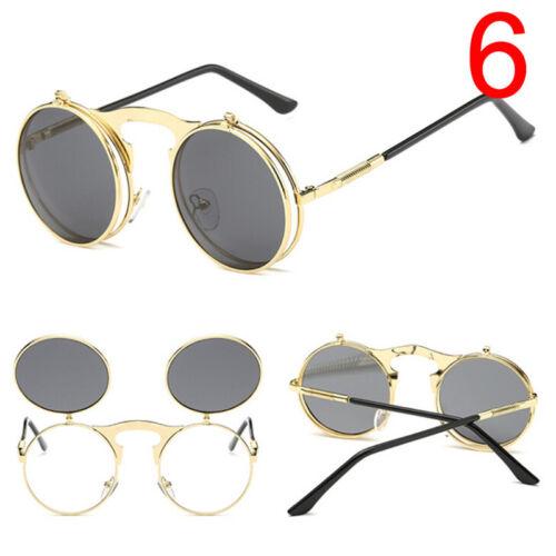 Retro Vintage Gothic Round Flip Up Sunglasses Steampunk Glasses Goggles Metal ZY