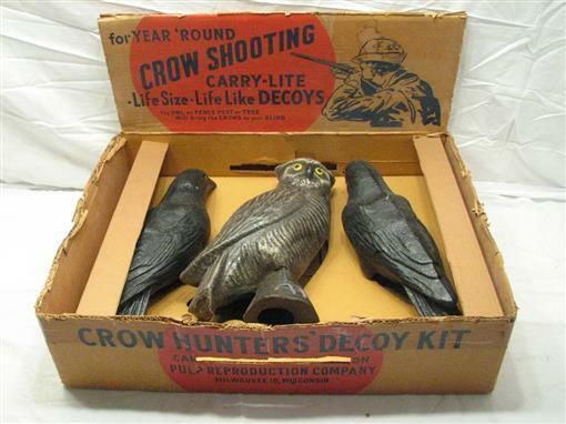 Vintage Crow Hunter's Decoy Kit Pulp  Reproduction Co Carry Lite Rare Hunting Owl  online store