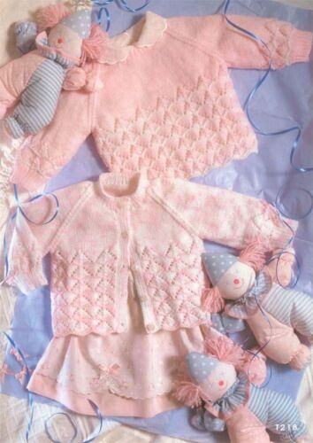 Baby lacy sweater and cardigan Knitting pattern.-To Knit 4 ply wool