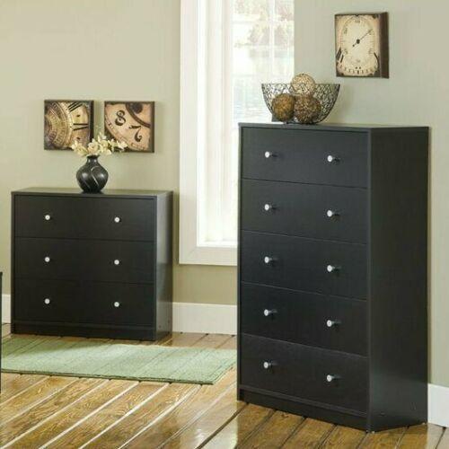 2 Piece Black Drawer Dresser Chest Set Home Living Bedroom Furniture