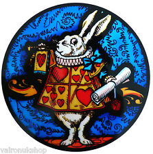 STAINED GLASS WINDOW ART STATIC CLING ALICE IN WONDERLAND - QUEEN'S HERALD