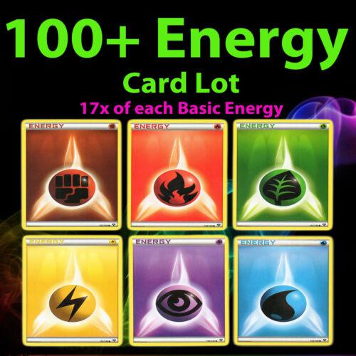 100 Pokemon Basic Energie Karte Figthing Feuer Gras Blitz Hellseher Wasser TCG
