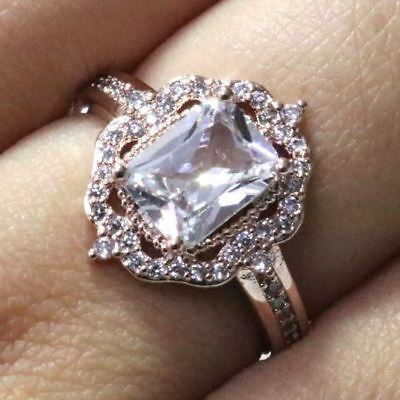Hand Carved Flower Cubic Zirconia Ring Women Jewelry 14K Rose Gold Size 6 to 9