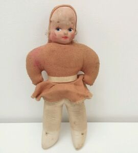 RARE-Antique-Vintage-Cloth-Body-Rag-Doll-14-034-Hand-Made-Molded-Painted-Face