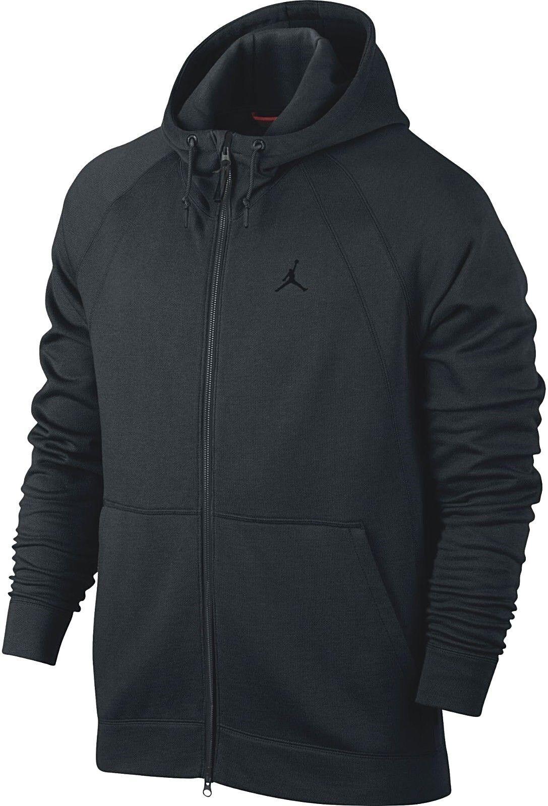 Original Nike Jordan Wings Fleece Reißverschluss Schwarzer Kapuzenpullover