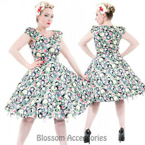 RKH68-Hearts-amp-Roses-Rockabilly-50s-Mix-Floral-Summer-Cocktail-Swing-Pinup-Dress