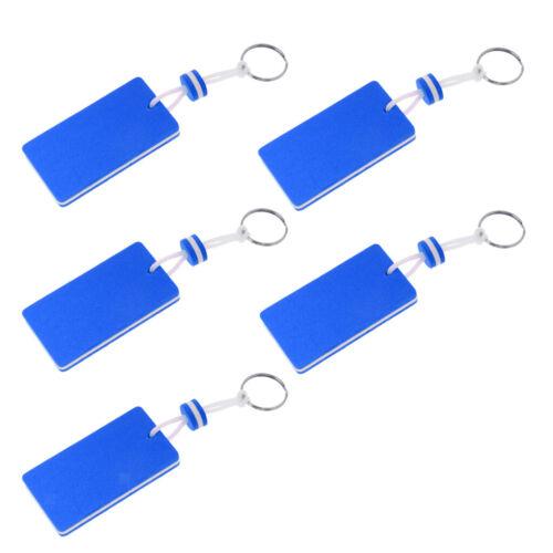 5x Marine Außenborder Floating Key Ring Segeln Kajak Angeln Rechteck Blau