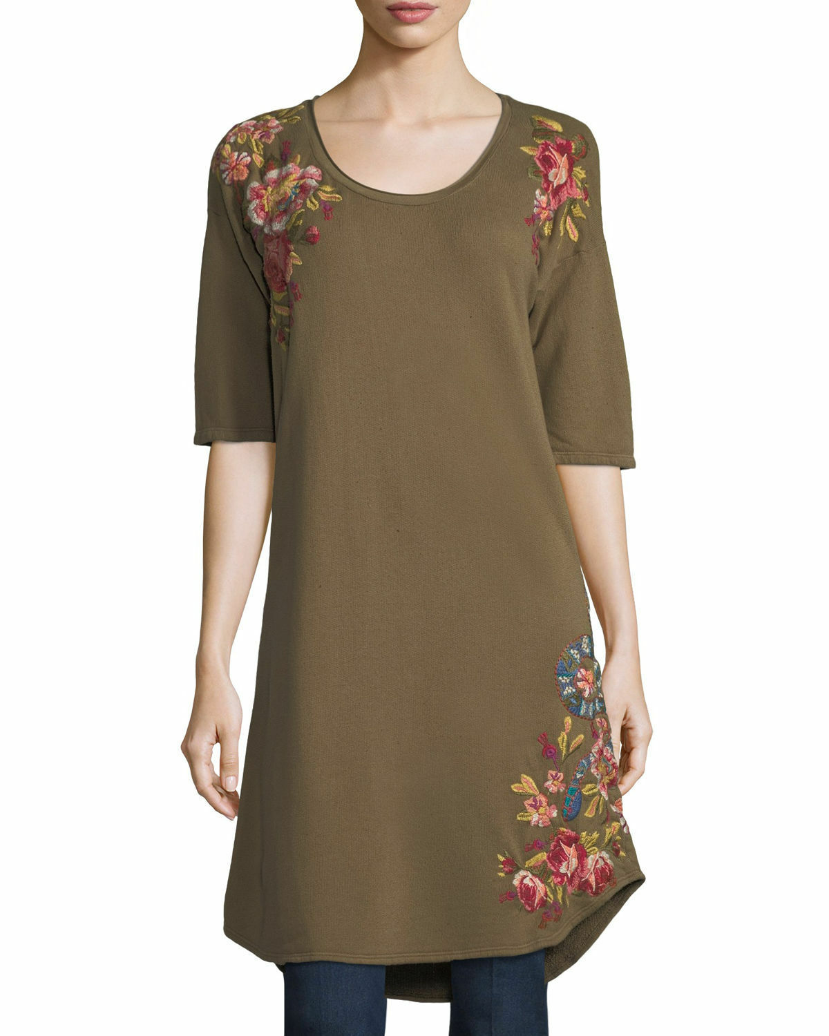 Johnny Was JWLA Malui Flower embroiderot French Terry tunic dress army NWT S