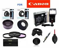 Zoom Lens+wide Angle Lens+ Flash + Gifts For Canon Eos T3 T4 T5 T5i 30d 20d Xs