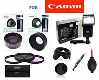 Pro Flash+wide Angle +zoom Lens Pro Kit For Canon Eos Rebel Fits All Rebel Dslr
