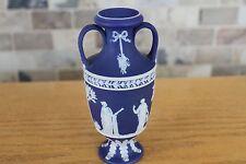 """Antique Wedgwood Cobalt Blue Jasper Ware 6"""" Muses Trophy Vase (c.1900)"""