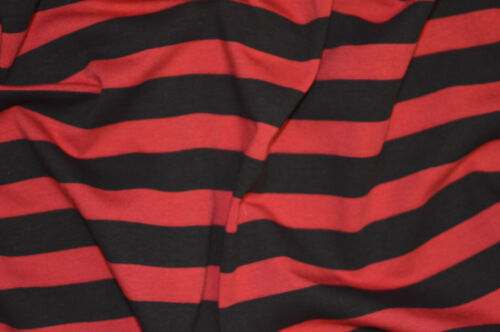RED /& BLACK SAILOR STRIPE T-SHIRT SINGLE JERSEY STRETCH FABRIC BY THE METRE