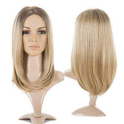 High Quality Womens Blonde Ombre Hair Wigs Medium Long Straight Heat Resistant