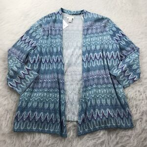 Chico-039-s-New-Women-039-s-Size-1-Medium-Cardigan-Sweater-Blue-Metallic-Open-Front