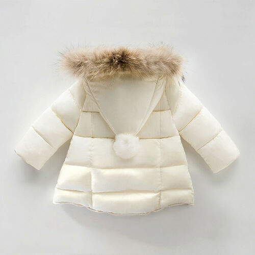 Winter Boys Girls Jacket Kids Padded Puffer Bubble Fur Collar Quilted Warm Coats