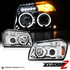 2005-2007 Dodge MAGNUM New Left+Right Chrome Pair Halo LED Projector Headlights