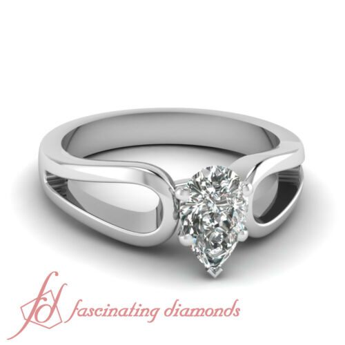 .60 Ct Pear Shaped Diamond Solitaire Engagement Ring 14K White Gold SI1F Color