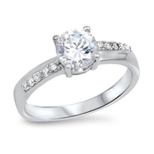 Round Cz Engagement  .925 Sterling Silver Ring Sizes 5-10