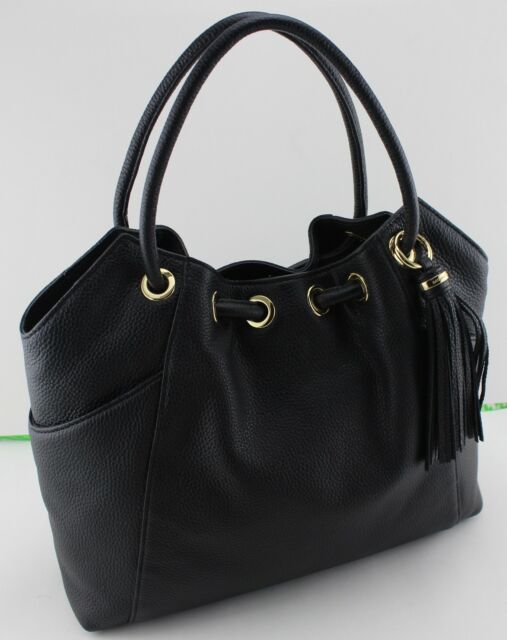 bebfd0206088 NEW AUTHENTIC MICHAEL KORS RING TOTE BLACK HANDBAG LG LARGE EW DRAWSTRING  WOMENS