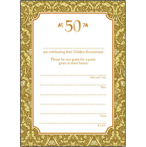 Pack of 10 golden wedding anniversary party invitations 50 years image is loading pack of 10 golden wedding anniversary party invitations stopboris Gallery