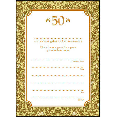 Pack Of 10 Golden Wedding Anniversary Party Invitations 50 Years