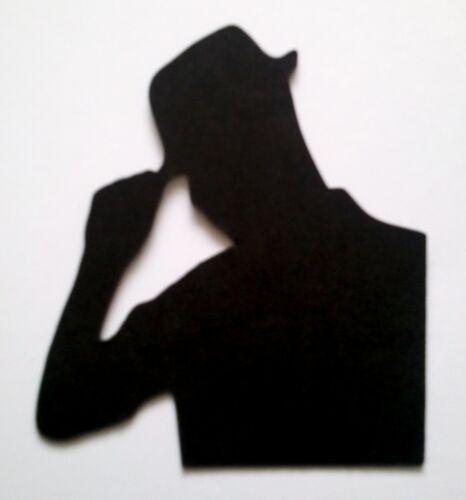 5 X Hombre Macho silueta dado corta Calidad Negro Tarjeta