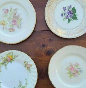 "4 Mismatched China 6"" Bread Dessert Plates Multi Color Florals w/ Gold Accents"