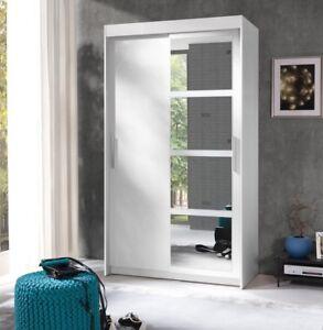 Details zu Kleiner Kleiderschrank Nako Schwebetürenschrank mit Spiegel  Schrank Schlafzimmer