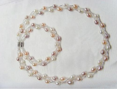 Pretty 5-6 mm Eau Douce Perles Fermoir Magnétique Bijoux Collier Bracelet Set