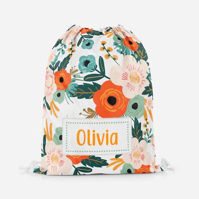 Personalised Floral Flowers Scenery Kids Sports Swimming School Drawstring Bag
